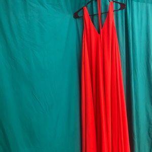 Orange red spaghetti dress